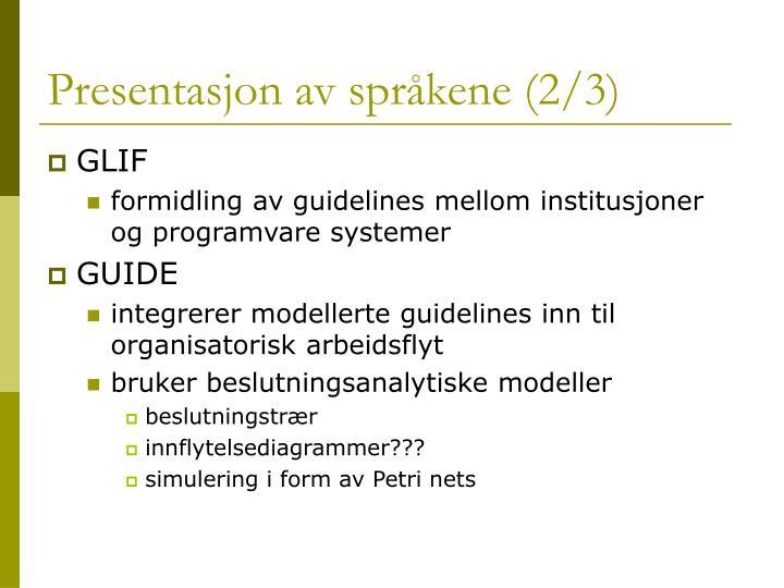 Presentasjon av språkene (2/3)
