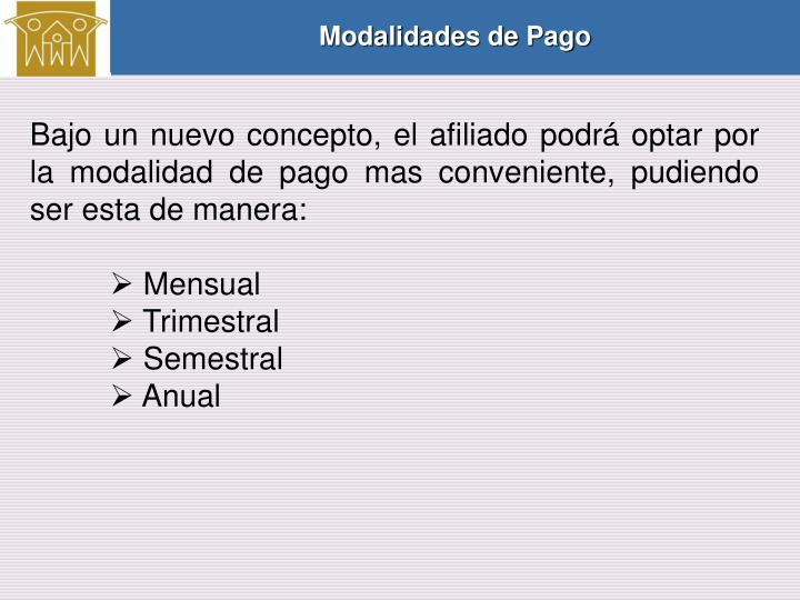 Modalidades de Pago