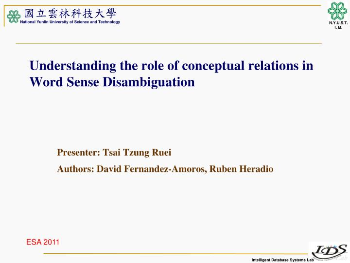 understanding the role of conceptual relations in word sense disambiguation n.