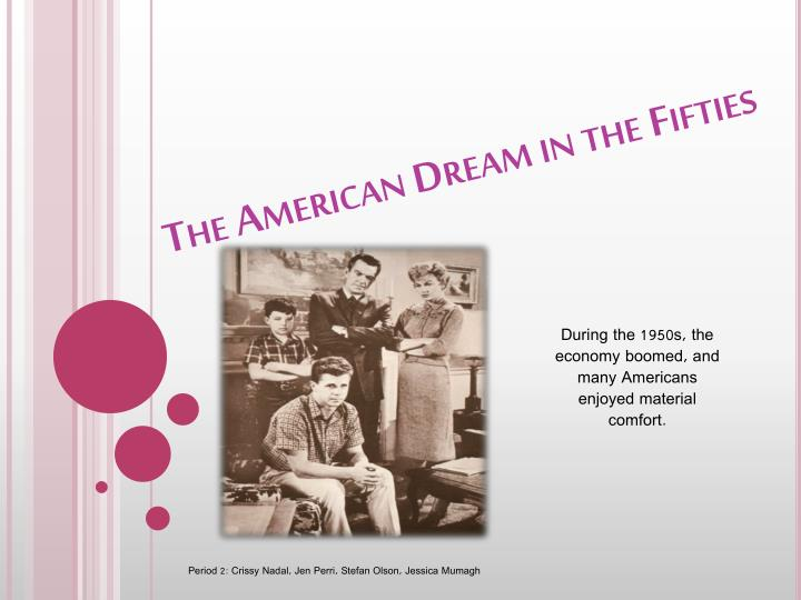 the american dream in the fifties n.