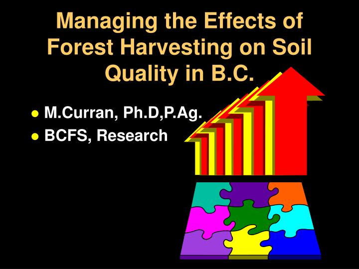 managing the effects of forest harvesting on soil quality in b c n.