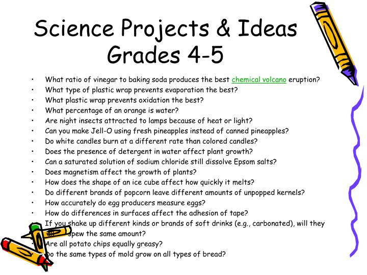 Science projects ideas grades 4 5