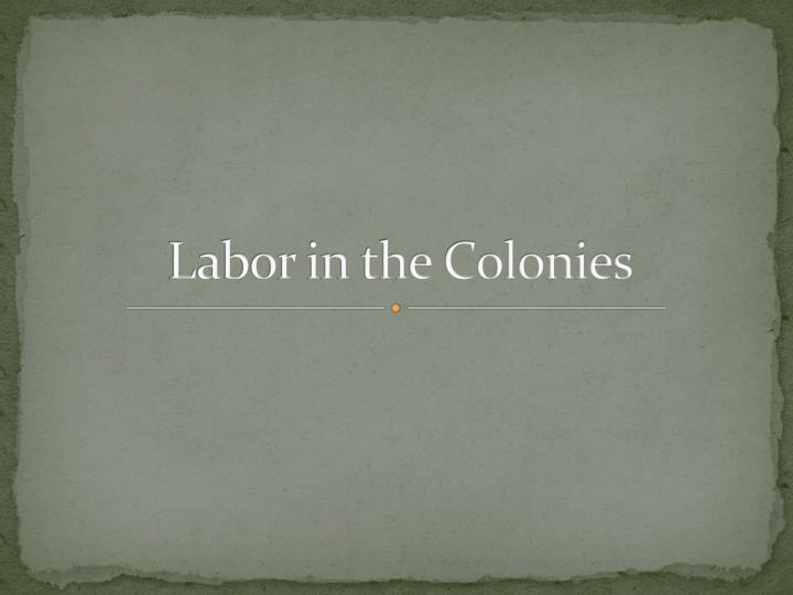 labor in the colonies n.