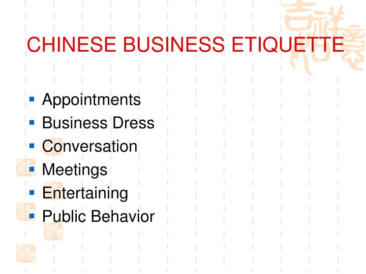 chinese business etiquette n.