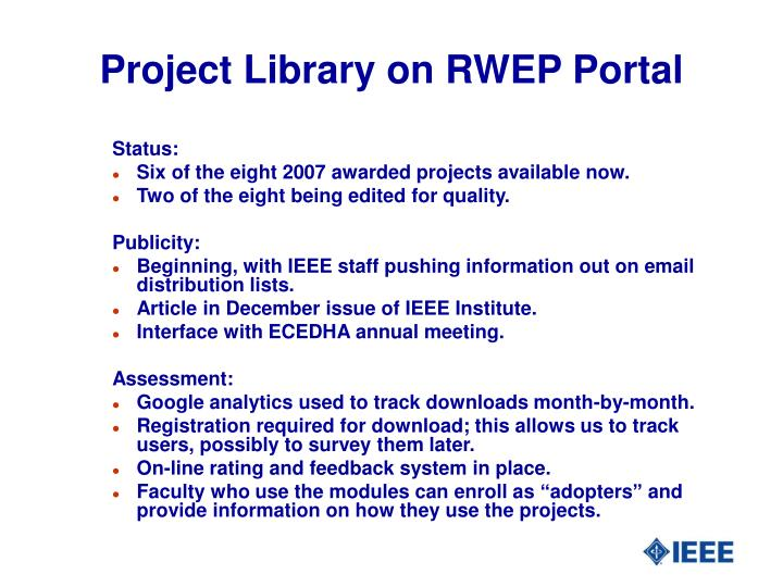 Project Library on RWEP Portal