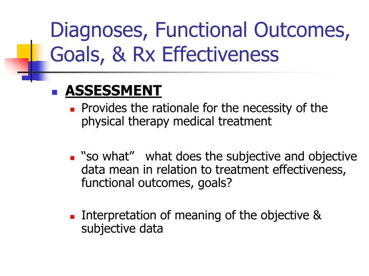 Diagnoses functional outcomes goals rx effectiveness
