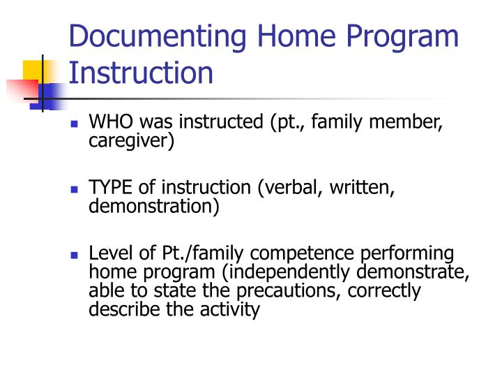 Documenting Home Program Instruction
