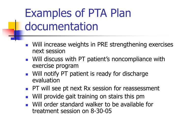 Examples of PTA Plan documentation