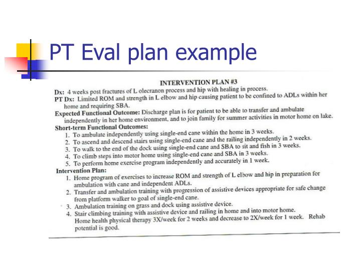 PT Eval plan example