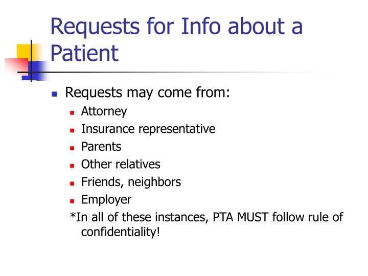 Requests for Info about a Patient