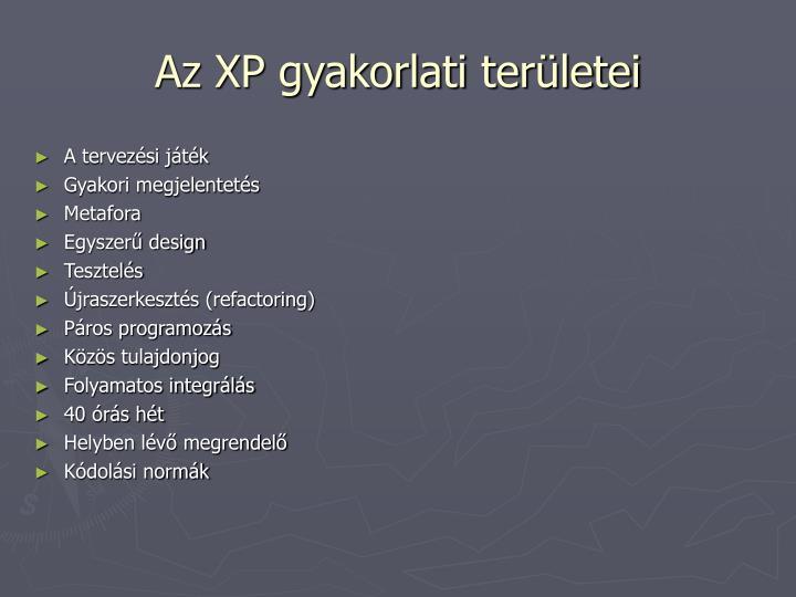 Az XP gyakorlati területei