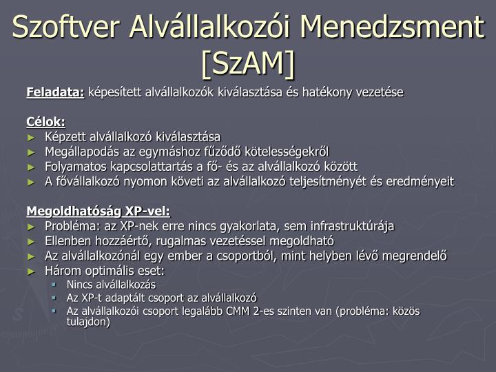 Szoftver Alvállalkozói Menedzsment [SzAM]