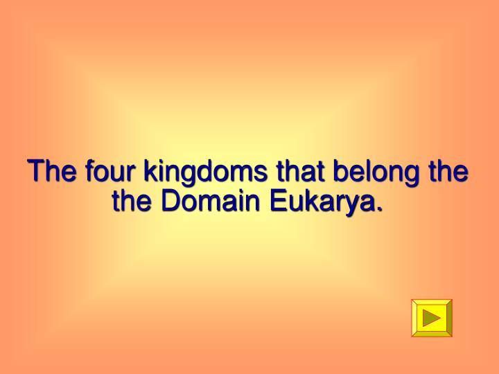The four kingdoms that belong the the Domain Eukarya.