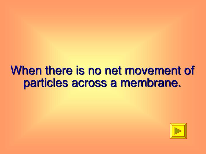 When there is no net movement of particles across a membrane.