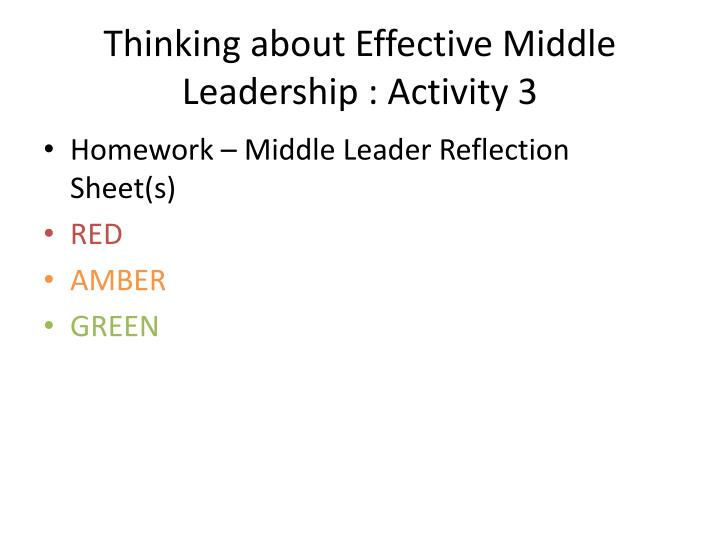 Thinking about Effective Middle Leadership : Activity 3