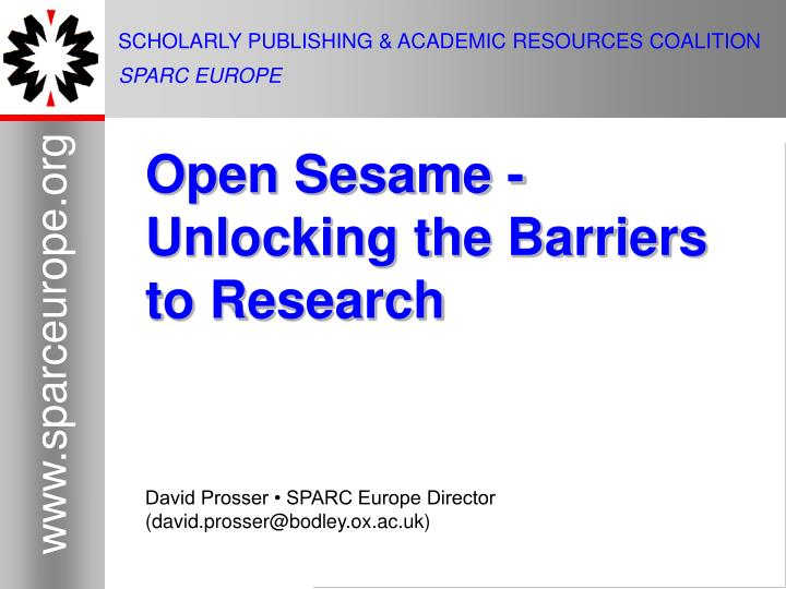 scholarly publishing academic resources coalition sparc europe n.