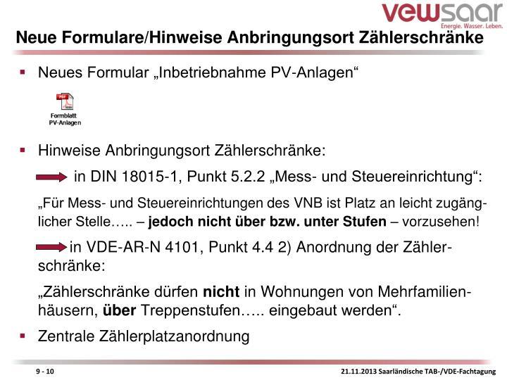 Neue Formulare/Hinweise Anbringungsort Zählerschränke