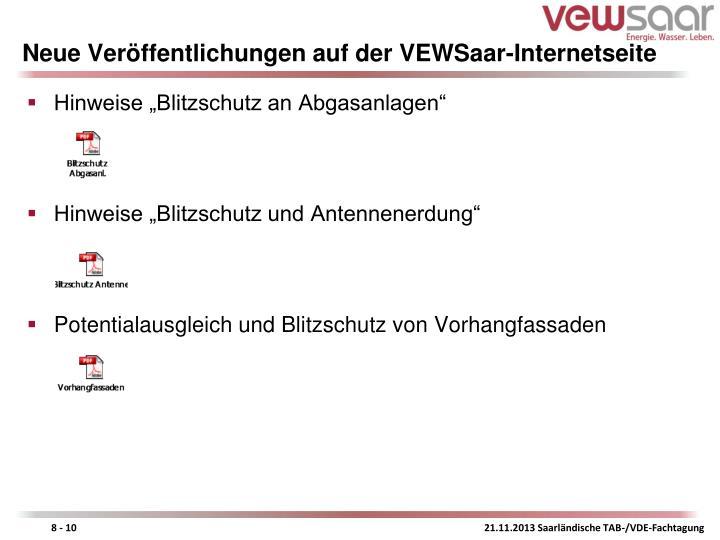 Neue Veröffentlichungen auf der VEWSaar-Internetseite