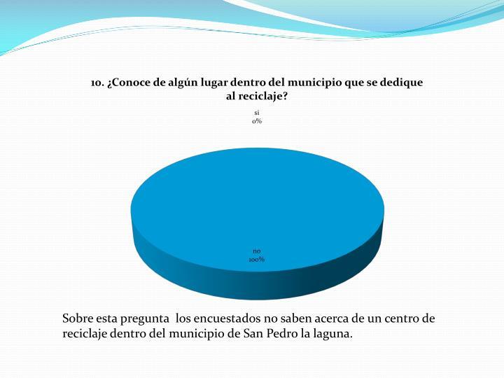 Sobre esta pregunta  los encuestados no saben acerca de un centro de reciclaje dentro del municipio de San Pedro la laguna.