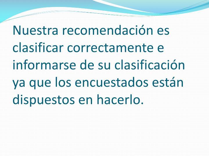 Nuestra recomendación es clasificar correctamente e informarse de su clasificación