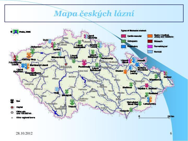 Mapa českých lázní
