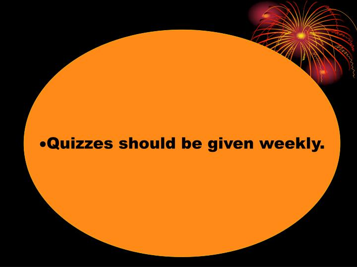 Quizzes should be given weekly.
