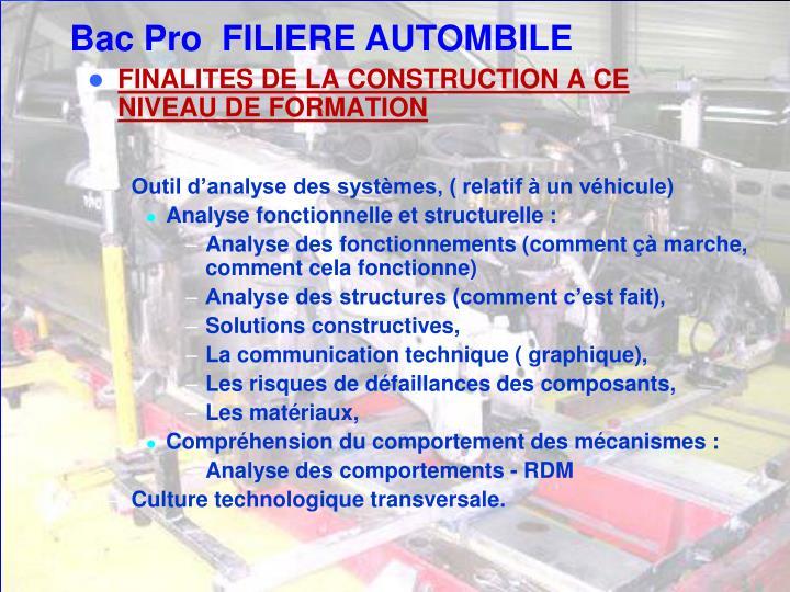FINALITES DE LA CONSTRUCTION A CE NIVEAU DE FORMATION