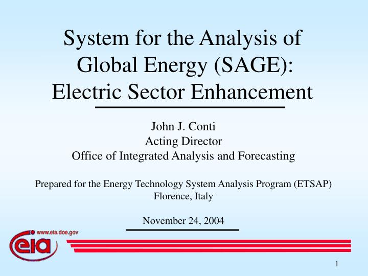 system for the analysis of global energy sage electric sector enhancement n.