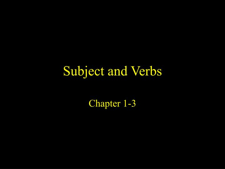 subject and verbs n.