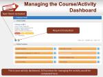 managing the course activity dashboard