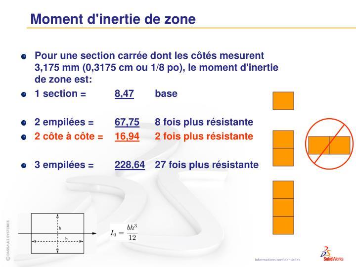Moment d'inertie de zone