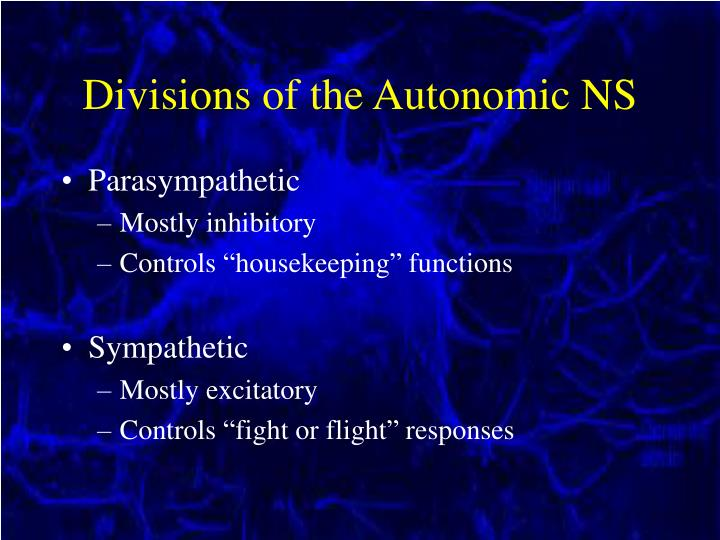 Divisions of the Autonomic NS