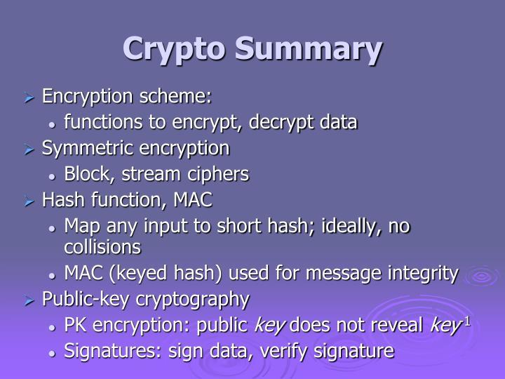Crypto Summary