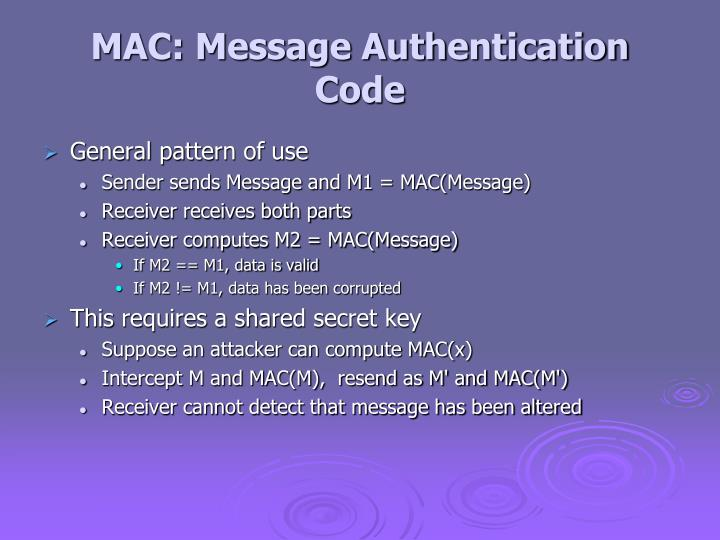 MAC: Message Authentication Code