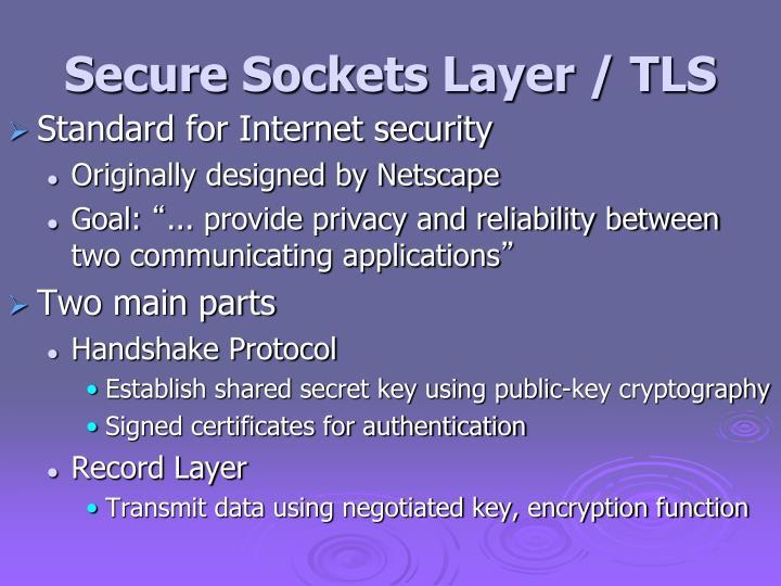 Secure Sockets Layer / TLS