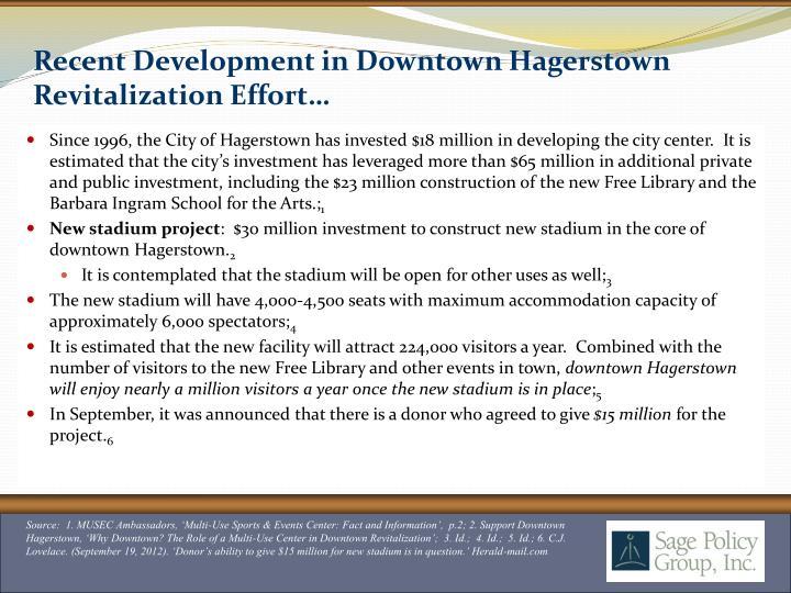 Recent Development in Downtown Hagerstown Revitalization Effort…