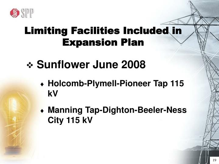 Limiting Facilities Included in Expansion Plan