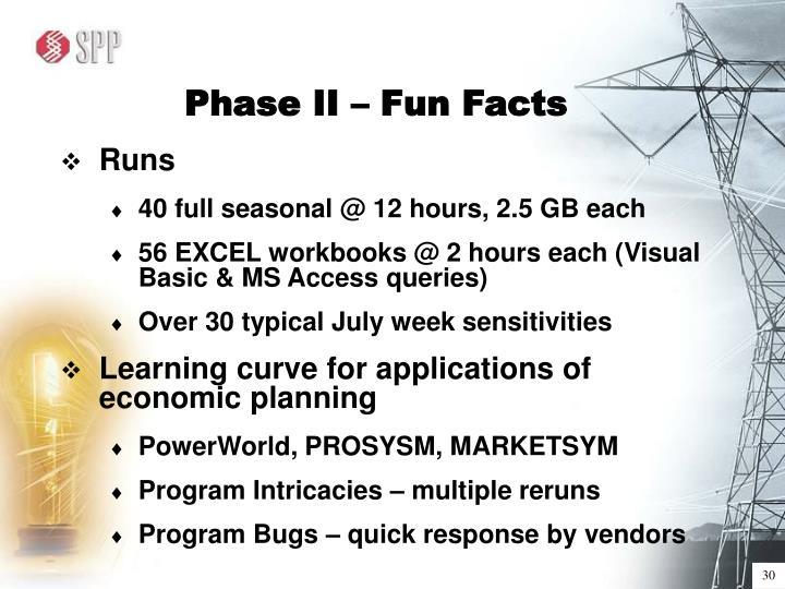 Phase II – Fun Facts