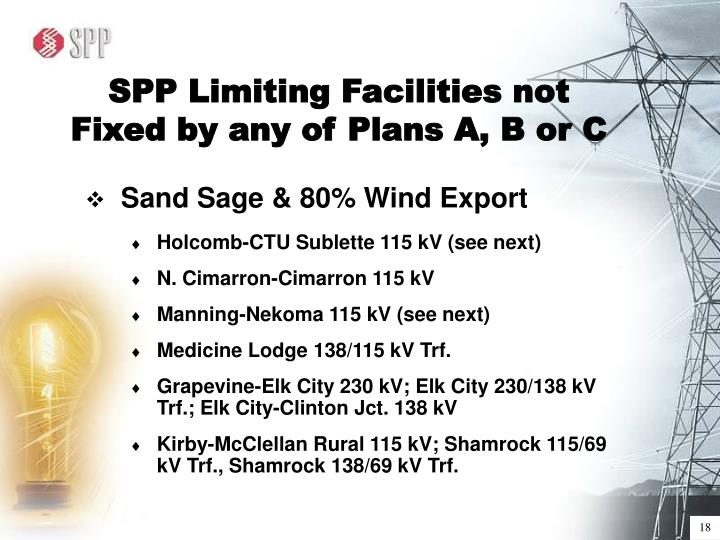 SPP Limiting Facilities not Fixed by any of Plans A, B or C