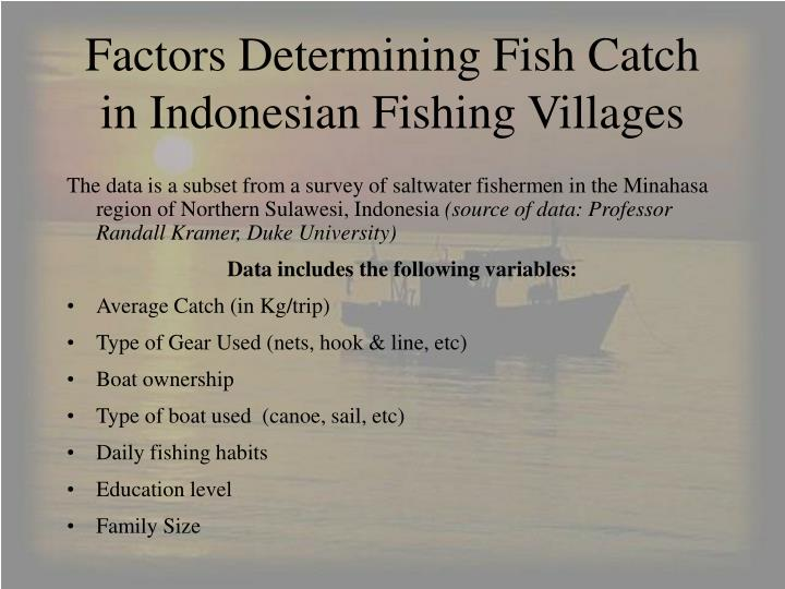 factors determining fish catch in indonesian fishing villages n.