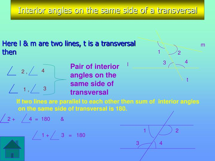 Interior angles on the same side of a transversal