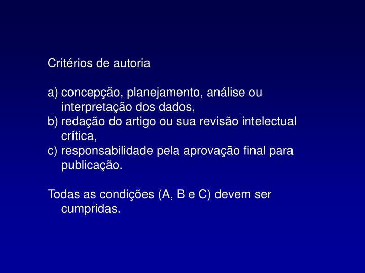 Critérios de autoria