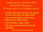 would you surive the plague simulation in many cases it was random chance