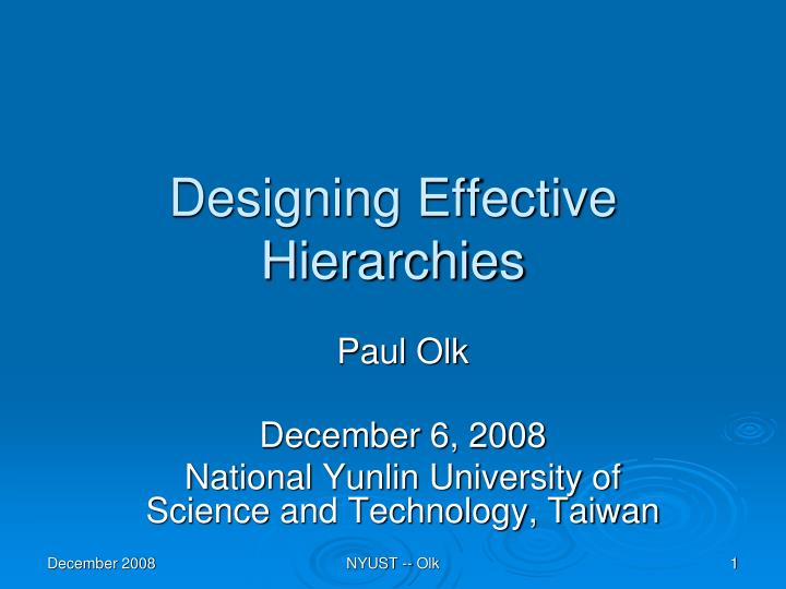 designing effective hierarchies n.
