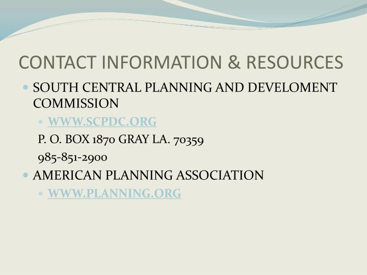 CONTACT INFORMATION & RESOURCES