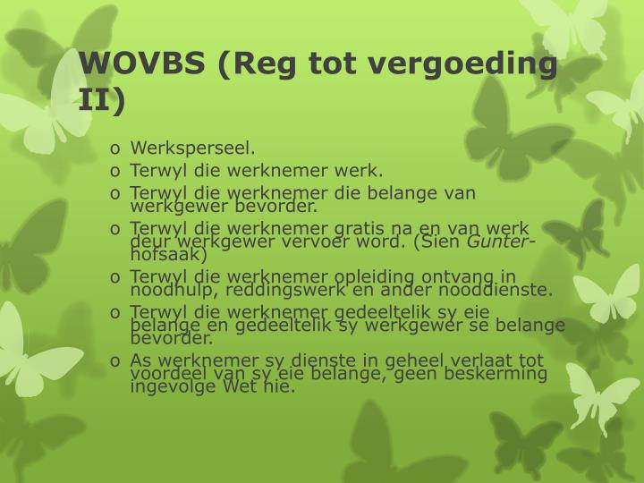 WOVBS (Reg tot vergoeding II)