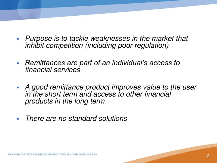 Purpose is to tackle weaknesses in the market that inhibit competition (including poor regulation
