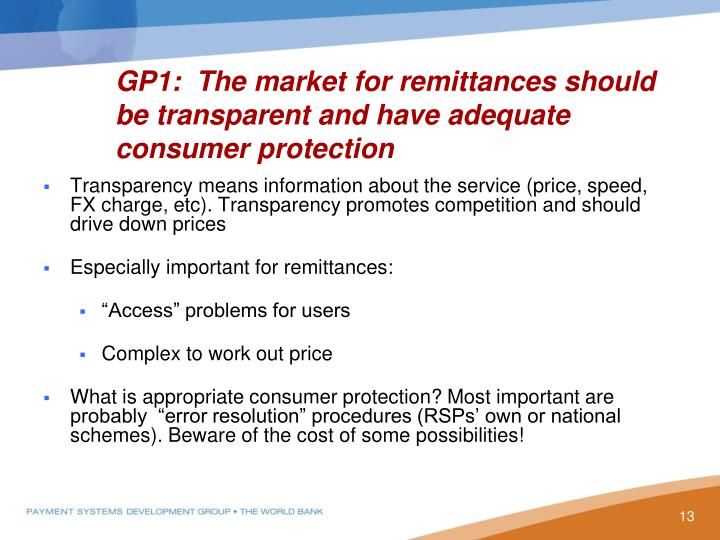 GP1:  The market for remittances should be transparent and have adequate consumer protection