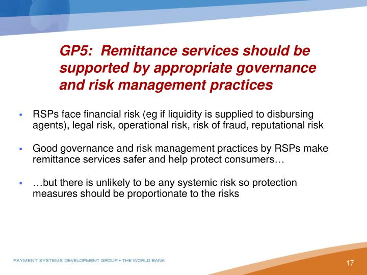 GP5:  Remittance services should be supported by appropriate governance and risk management practices