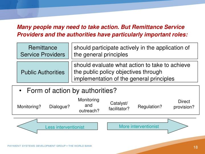 Many people may need to take action. But Remittance Service Providers and the authorities have particularly important roles: